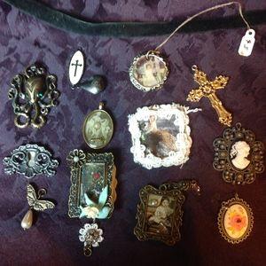 Victorian pendants w/ velvet choker handmade OOAK